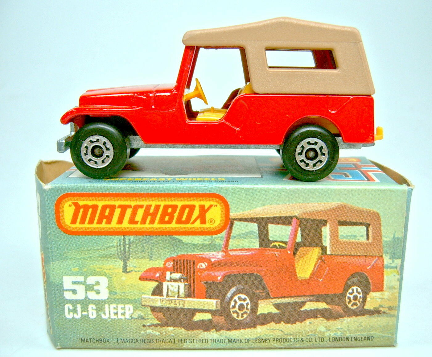 Matchbox SF Nr. 53C Jeep CJ-6 rot & braun top in Box  | Spezielle Funktion
