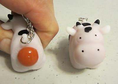 1 NEW NAUGHTY POOPING COW KEYCHAIN SQUEEZE ANIMALS POOP TURD KEY RING CHAIN