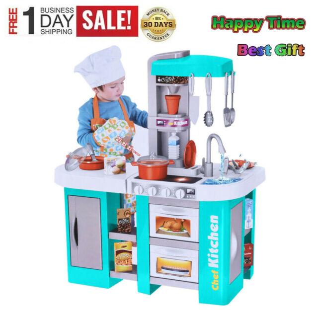 Child Kids Wood Kitchen Playset Toy Cooking Pretend Play Set Toddler Wooden