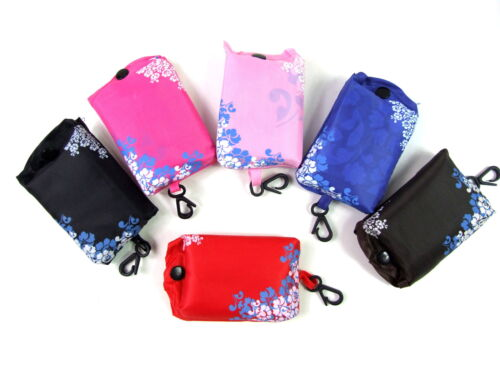 Floral Reusable Shopper Tote Eco Fold Roll Pouch Clipbag Folding Up Shopping Bag