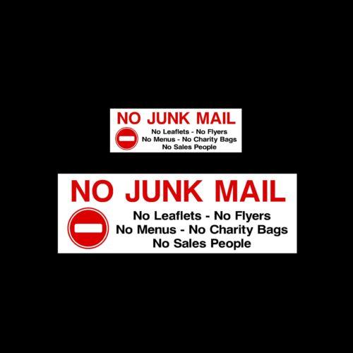 No Junk Mail All Sizes /& Materials Sign Sticker