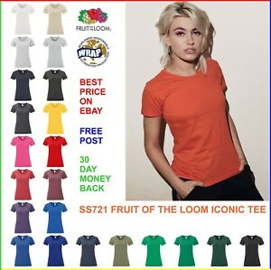 LADIES-PLAIN-100-COTTON-T-SHIRT-Fruit-of-the-Loom-ICONIC-Soft-Shaped-TEE