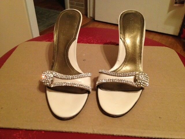 Womens Size 7 Via Spiga Diamond Studded Crystal Slides Heels Heels Heels UNIQUE 5f4e76