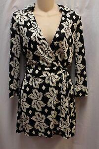 4689e7ca4e6 Details about Diane von Furstenberg DVF Celeste Black White Leaf Romper  Jumpsuit 4 Small  398