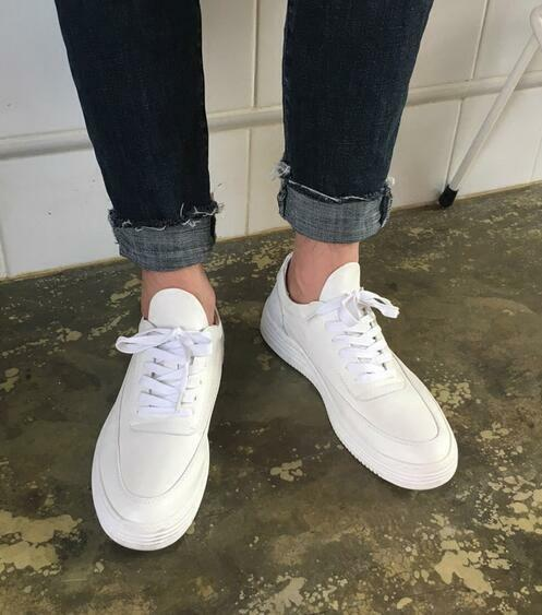 Mens Leather Round Toe Low Top White Sneakers Casual Lace Up Sport Shoes HOT F26