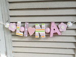 Lina namenskette shabby chic kinderzimmer holz for Kinderzimmer lina