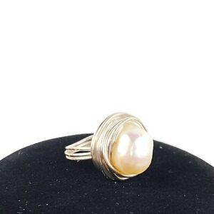 Real-Genuine-Pearl-Silver-Tone-Wire-Wrapped-Statement-Ring-Beachy-Boho-Sz-7