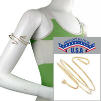 Usa Made Upper Arm Bracelet Gold Tone Cuff Band Armlet Double Curve Ball on sale
