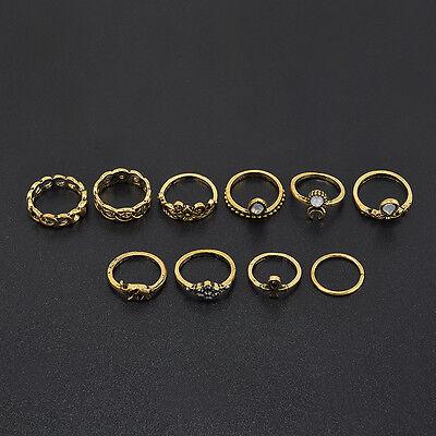Cool Hot Women Boho Knuckle Rings Set Turquoise Arrow Cross Elephant Midi Ring