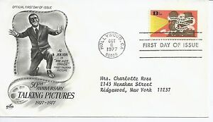 US-Scott-1727-First-Day-Cover-10-6-77-Hollywood-Single-Talking-Pictures