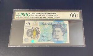 PMG 66 EPQ  - GB Five Pound Note - 2015 - CLELAND - Polymer £5 - GEM UNC - AA02