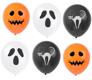 15-x-HALLOWEEN-BALLOONS-White-Ghost-Black-Cat-Orange-Pumpkin-Party-Decorations-Q
