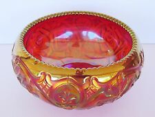 "Fenton 4389RC - 7"" ""Roses"" Rosebowl in Vivid Red Carnival Glass * Brand New"
