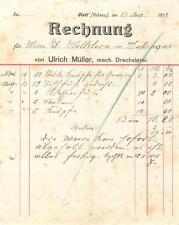 alte Rechnung, Glatt Hohenzollern Ulrich Müller Drechslerei 1918  #E722