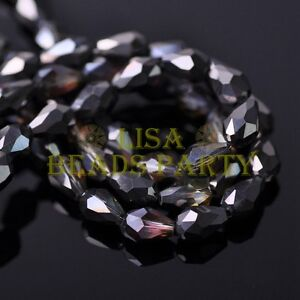 New-50pcs-7X5mm-Teardrop-Faceted-Crystal-Glass-Spacer-Loose-Beads-Black-Colorful