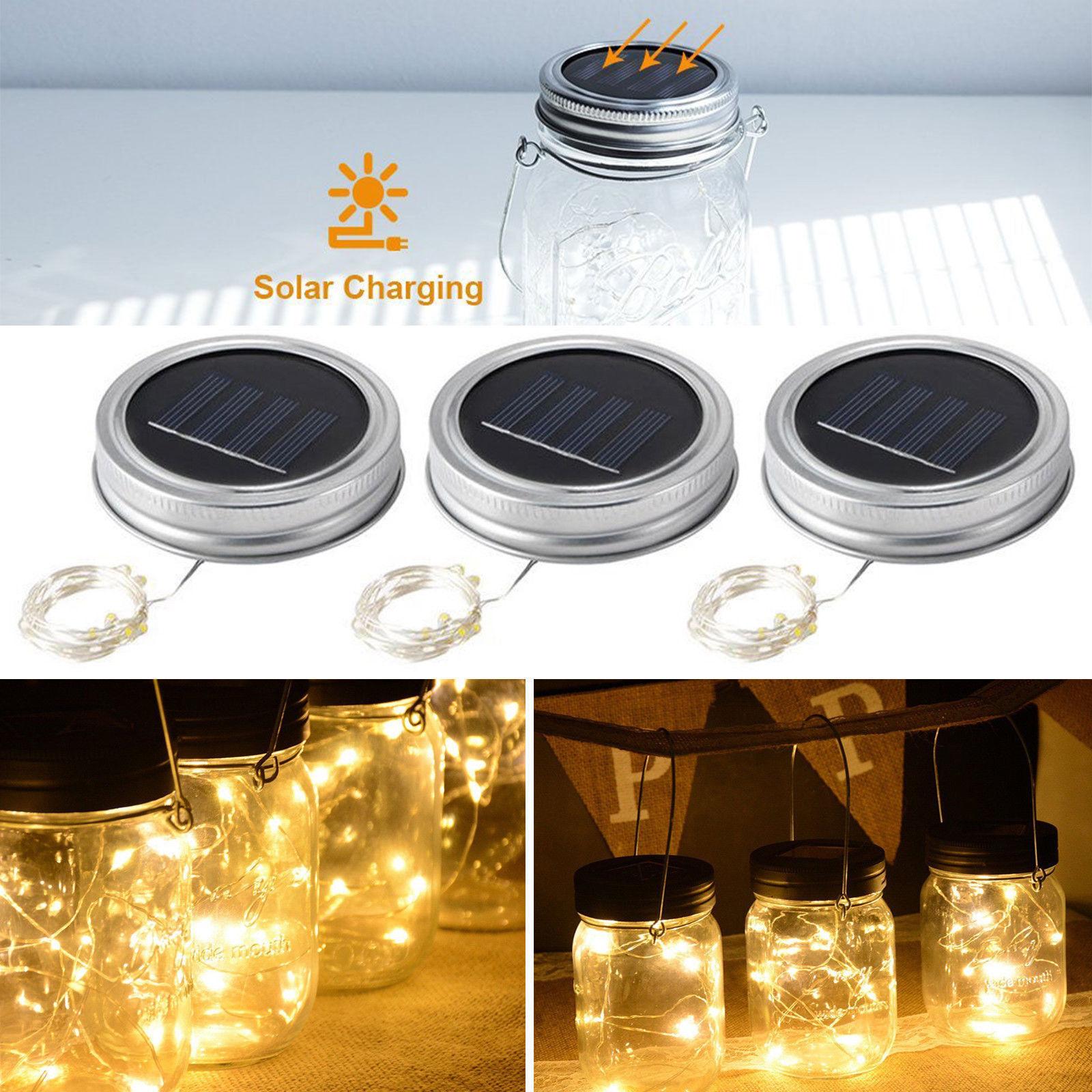 UK 20 LED String Fairy Light Solar Jar Lid Bottle Cap Light Xmas Decor 2M