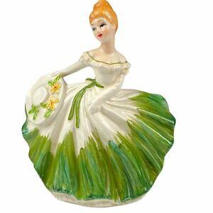 Lefton 5679 Dancing Lady Southern Belle Planter Green & White