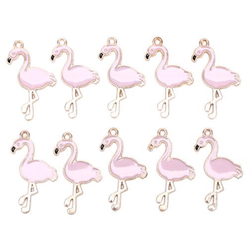 10PCS//Lot Alloy Enamel Flamingo Charms Pedants Crafts DIY Jewelry Findings Gi ob