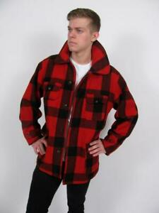 WOOLRICH-505-VTG-50-039-s-MACKINAW-WOOL-HUNTING-BUFFALO-RED-PLAID-MAC-JACKET-COAT-44