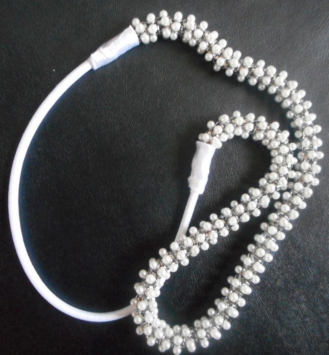 HAPACHICO LUPITA Vintage Soft Hair Headband White Pearls Beads Silver