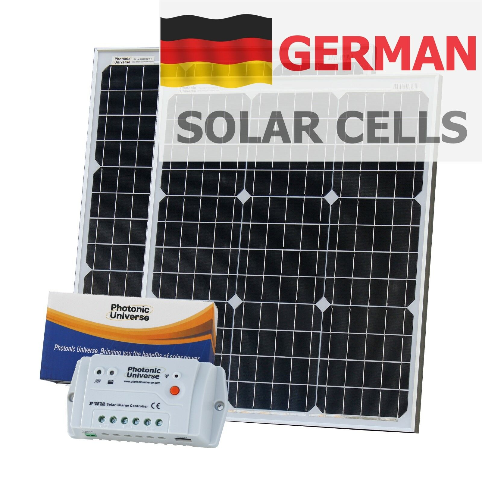 100W (50W+50W) solar panel kit with controller & cable motorhome / boat 12V/24V
