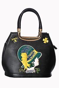 Para-mujer-Sombrero-Negro-Retro-Rockabilly-Anos-50-Vintage-Bolso-Bolso-de-mano-por-prohibidas