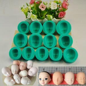 13X-Silikon-3D-Puppe-Gesicht-Backform-Form-Kuchen-Schokoladenform-Praline-Gift