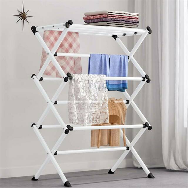 Laundry Wooden Collapsible Drying Rack Clothes Folding Portable Indoor Outdoor For Sale Online Ebay