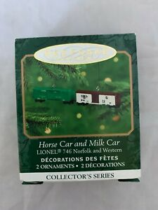 2000-Hallmark-Keepsake-Lionel-Horse-and-Milk-Car-Miniature-Christmas-Ornament