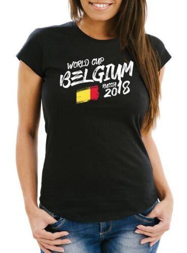 Damen T-Shirt Belgien Belgium Fan-Shirt WM 2018 Fußball Weltmeisterschaft