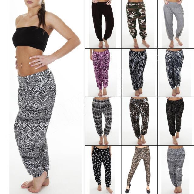 Womens Ladies Ali Baba Harem Plain Leopard Animal Aztic Print Trousers Pants New