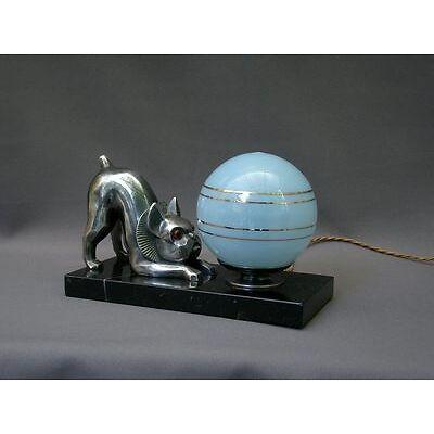 A VOIR! SUPERBE LAMPE EPOQUE ART DECO & SUJET CHIEN DOGUE DE BORDEAUX era SANDOZ