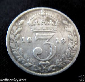 STERLING-SOLID-0-925-SILVER-Threepence-1919-Coin-Antique-II-Old-World-War-I-UK