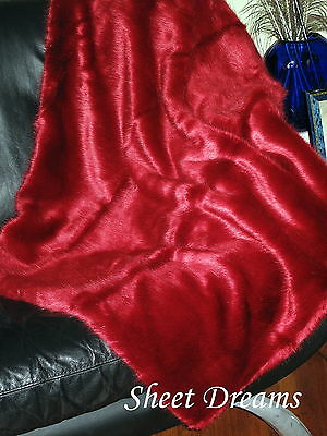Nicole Miller Chili Red Solid Faux Fur Long Pile Opulent Throw Blanket New