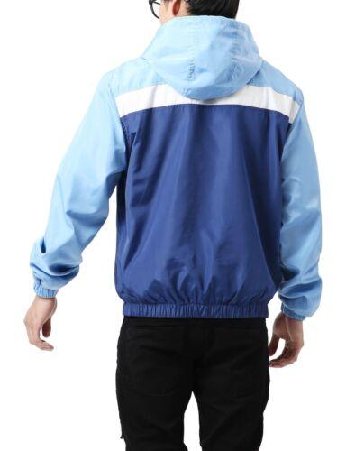 Mens WINDBREAKER Jacket HOODED Lightweight Slim Fit Casual Running Two Tone