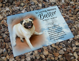Personalised-headstone-memorial-plaque-grave-marker-ceramic-tile-Pug-dog