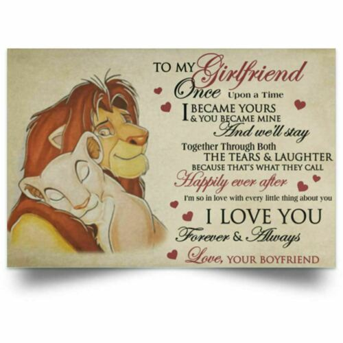 The Lion To My Girlfriend I Love Your Forever /& Always Ver2  Canvas .75