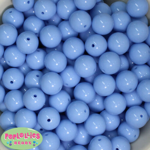 16mm Periwinkle Blue Acrylic Solid Bubblegum Beads Lot 20 pc.chunky gumball