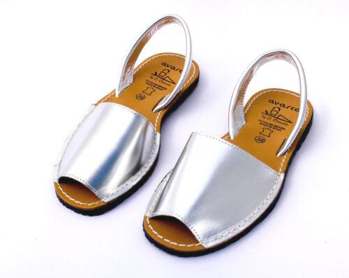 Avarcas plata esparteñas señora sandalias Sling Spain cuero menorquinas 36-41