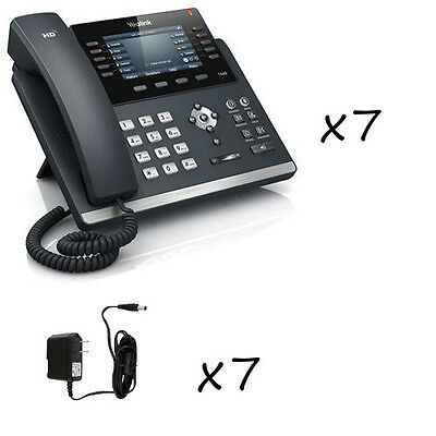 Lot of 7 Yealink SIP-T46G Gigabit Color IP 6-Line Phones + 7 Power Adapters