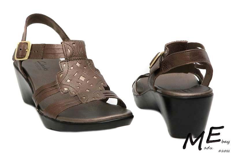 Nuevo Clarks Flexibles Mujer Peltre Cuero Mujer Flexibles Sandalias Talla 7.5 3fc375