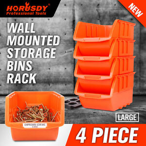 Image Is Loading 4 Large Stackable Plastic Storage Bins Container Organizer