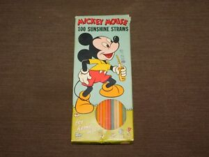 VINTAGE-WALT-DISNEY-MICKEY-MOUSE-SUNSHINE-STRAWS-IN-BOX