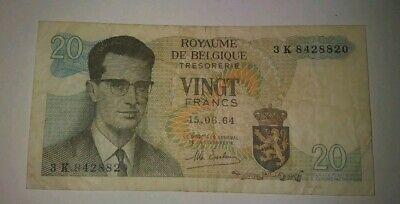 Belgium 20 Francs 1964 VF+ CRISP Banknote P-138 2RF 11AGO