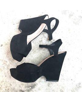 NEW Madden Girl Women's Cena Wedge Sandals Size 5 Black $79