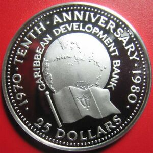 1980-BARBADOS-25-SILVER-PROOF-CARIBBEAN-DEVELOPMENT-BANK-RARE-MINT-2-345-COINS