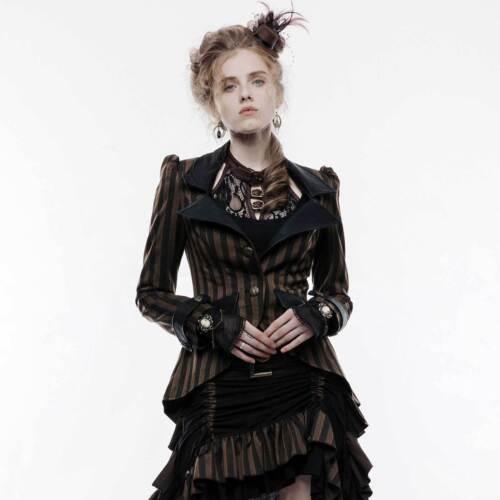 d'ᄄᆭquitation Rave Veste Veste Gothic Punk victorienne Brown Steampunk marron 0wnON8PXZk