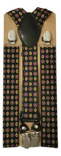Standard Durable Mens Ladies Braces Suspender Elastic 3.5cm Wide Paisley