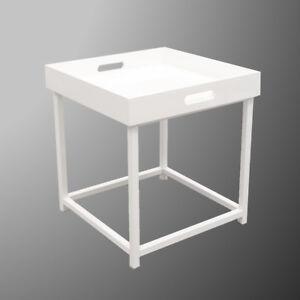 Beistelltisch Lilly Tisch Ablage Couchtisch Nachttisch Weiss Metall