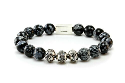 Mens Obsidian /& Sterling Silver Bracelet-Classic silver Bead Bracelet For Men